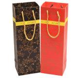 Bolso de empaquetado de papel del regalo del vino de las compras para la sola botella