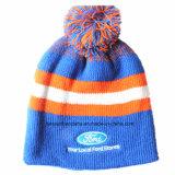 カスタマイズされたロゴによって刺繍されるアクリルのウールの冬のスキーは暖かい編まれた帽子の帽子を遊ばす