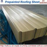 Folha de telhado de aço galvanizado ondulado revestido de cor de material de construção