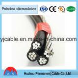 XLPE ou câble triple empaqueté aérien d'ABC de baisse de service d'ABC de conducteur en aluminium de câble au-dessus isolé par PE