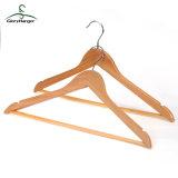 Superior al por mayor de ropa de madera Percha para prendas de vestir Hombre Muebles Percha con Bar (GLWH003)