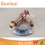 2015 baixo Arc Rosa Gold Basin Faucet com Ceramic Lever Handle Ql14028b