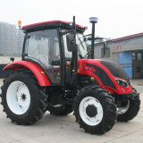 Tracteur agricole 90HP 4X4, moteur Yto, engrenages de changement de vitesse 16f + 8r, cabine AC, radio, chargeur frontal, rétrocaveuse, pièce jointe disponible