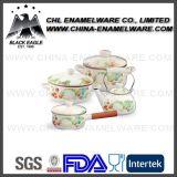Fabricante FDA Estándar Personalizada Logo Cerámica Esmalte Cookware Set