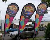 Promotion des ventes extérieure annonçant le drapeau estampé polychrome d'indicateur de plage de larme