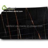 Верхняя часть тщеты края лидирующего мрамора Nero Tunisi черного Polished законченный плоская для ванной комнаты