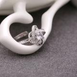Cristal del embutido del anillo de la apertura de la plata esterlina de la manera 925 de las mujeres