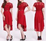 Горячие продавая женщины платья шнурка макси одна конструкция платьев плеча