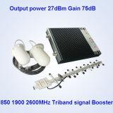 850 1900 tri repetidor de la señal del teléfono celular de venda de 4G 2600MHz