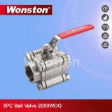 acceso lleno 2000wog CF8m/CF8 de la vávula de bola 3PC