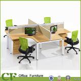 Кривый l рабочее место перегородки ткани офиса формы для 4 работников