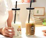 Garrafa de leite de alta qualidade de 300 ml, recipiente de suco de vidro, produtos de vidro com palha