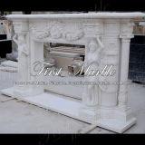 Camino bianco Mfp-1030 di Carrara del camino di pietra di marmo del granito
