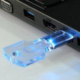 Logotipo azul do diodo emissor de luz do USB da chave transparente de cristal