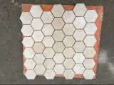 Azulejo de mosaico de mármol de Crema Marfil Basketweave