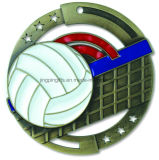 2017 paste de Uitstekende kwaliteit de Gouden Gegoten Medaille van het Volleyball M3XL Matrijs - 2.75 Duim aan - omvat Rood, Wit & Blauw v-Hals Lint