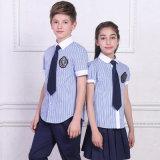 2016 uniformes scolaires primaires faits sur commande internationaux en bloc neufs du modèle 100%Cotton avec la chemise de circuit de vérification