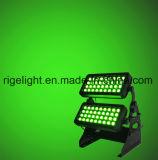 luz ao ar livre da cor da cidade do diodo emissor de luz da arruela da parede da luz do estágio IP65 de 72LEDs 8W RGBW 4in1
