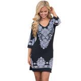 Stammes- Muster-Kurzschluss-Kleid