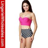 Omslag Swimwear van de Stip van de Bikini Waisted van dames de Tweedelige Hoge Sexy