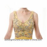 Фасонируйте a - линию отбортованные кристаллы шифоновое официально платье выпускного вечера мантии вечера