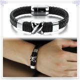 De Armband van het Leer van de Armband van het Roestvrij staal van de Juwelen van de manier (LB141)