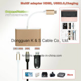Тип-C тип c USB Multi-Порта алюминиевого сплава переходники, + 4k HDMI (30Hz) + порты USB 3.0