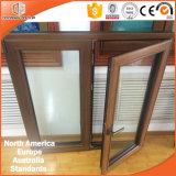 최신 디자인 목제 Windows, 미국 캘리포니아 클라이언트 티크 목제 입히는 열 틈 알루미늄 여닫이 창 Windows