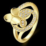 9K de goud Geplateerde Ring van Zircon van de Vorm van de Bloem voor Meisjes