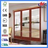 Portes coulissantes en verre en bois de porte en bois solide extérieure de teck de Jhk
