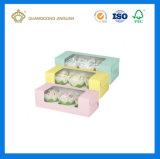 Rectángulo de empaquetado de papel barato plegable modificado para requisitos particulares de Macaron (rectángulo de Macaron de la ventana del PVC)