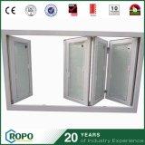 Persianas de doble vidrio de PVC Ventana plegable interior y ventana de marco de madera