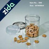 Pet plástico latas y tapas de aluminio, claro, poner el caramelo, comida, más. O plásticos moldeados de encargo, Moldeo-Custo plástico de la inyección