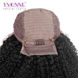 イボンヌ180%の密度のアフリカの巻き毛のブラジルのレースの前部かつら