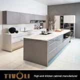 マットの島Tivo-0058Vが付いている灰色のラッカー食器棚