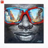 Peinture à l'huile africaine d'homme de couleur de lunettes de soleil