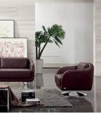 Sofá de madera de la sala de estar casera de cuero moderna del sofá (UL-NS018)