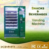 Alimento do petisco do baixo custo e máquina de Vending do suco com anúncio da tela
