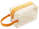 Sacos cosméticos portáteis do PVC do laço da promoção