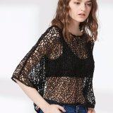 Damas moda sexy malla hueco espalda dos piezas conjunto blusa