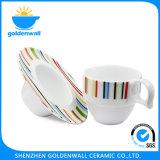 CIQ, SGS 225ml de Kop van de Koffie van het Porselein met Schotel