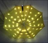 Caras dobles plegables el paraguas promocional del paraguas LED del paraguas