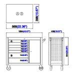 44 gabinete do rolo da gaveta da polegada 7; Gabinete de ferramenta