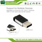 Tipo-c vara da memória da movimentação da pena de Pendrive 16GB 32GB 64GB da movimentação 3.1 do flash do USB