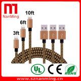 cable de datos trenzado de nylon del cargador del cable del USB 8pin de la tela del 1m/de los 2m/de los 3m para el iPhone