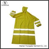안녕 힘 긴 비옷 방수 PVC 노란 사려깊은 안전 재킷