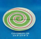 Piatto di ceramica dipinto a mano della caramella per la decorazione di natale