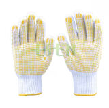 La stringa del cotone ha lavorato a maglia il guanto giallo del lavoro di sicurezza dei puntini del PVC dei guanti