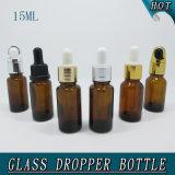 bernsteinfarbige Reduzierstück-Dichtungs-Plastikschutzkappen-Glas-wesentliches Öl-Flasche der Öffnungs-15ml