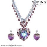 Joyería en forma de corazón cristalina de lujo de piedra grande Set-41 de la boda de la manera